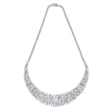 16.1 TCW Solid 18 Kt White Gold SI Clarity HI Color Marquise Diamond Fine Necklaces Spetrum Jewelry