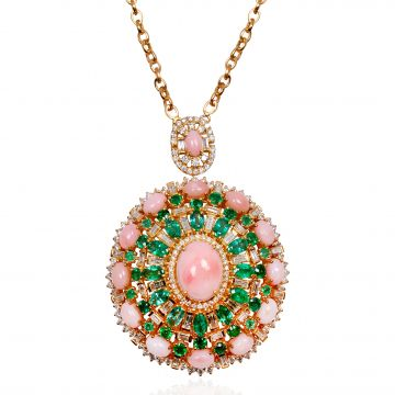 Solid 18Kt Yellow Gold SI Clarity HI Color Baguette Diamond Pink Opal & Emerald Gemstone Pendant Chain Necklace