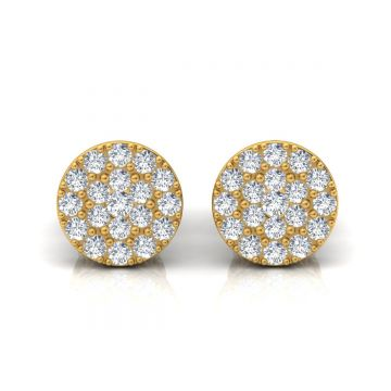1.00 TCW Solid 18 Kt Gold SI Clarity HI Color Diamond Handmade Stud Earrings