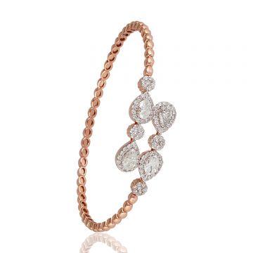 2.26 Ct SI/HI Pear Diamond Pave Cuff Bangle Handmade Fine Bracelet 18k Rose Gold