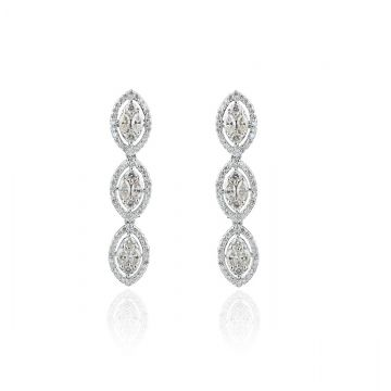 3.4 TCW Solid 18 Kt White Gold SI Clarity HI Color Diamond Marquise Earrings