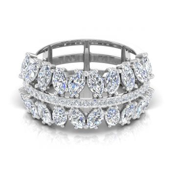1.9 TCW Solid 18 Kt Gold Marquise Shaped SI Clarity HI Color Diamond Promise Band Ring