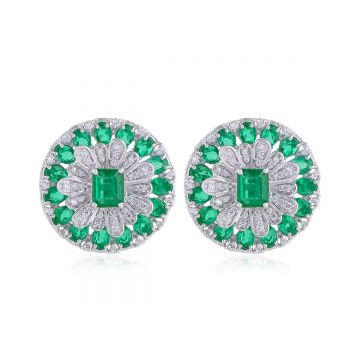 Genuine Emerald Solid 18 Kt White Gold SI Clarity HI Color Diamond Fine Designer Earrings