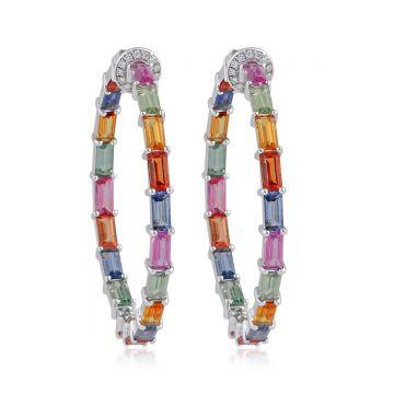 Multi Tourmaline Solid 18 Kt White Gold SI Clarity HI Color Diamond Fine Hoop Earrings