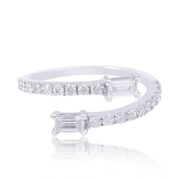 0.9 TCW Solid 18Kt White Gold SI Clarity HI Color Diamond Baguette Bypass Band Ring
