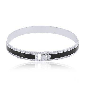 Natural 1.2 Ct SI/HI Diamond Bangle Black Enamel Bracelet 18k White Gold Jewelry