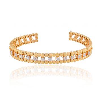 SI/HI Diamond Cuff Bangle 18k Yellow Gold Bracelet Handmade Jewelry NEW