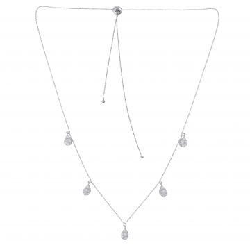 1.1 Ct. HI/SI Baguette Diamond Pave Little Drop Charms Necklace 18k White Gold
