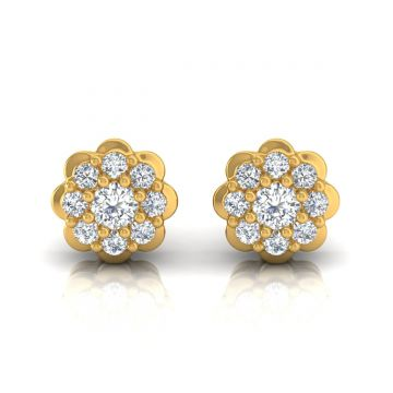 1.15 TCW Solid 18Kt Gold SI Clarity HI Color Diamond Stud Earrings