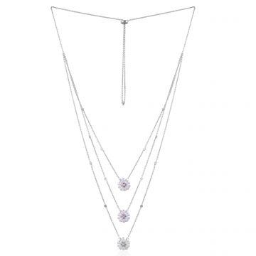18k White Gold 2.60 Ct. SI/HI Pear Diamond Flower Pendant Necklace Fine Jewelry