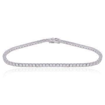 Natural 3.25 Ct SI/HI Diamond Tennis Bracelet Solid 18k White Gold 7 Inch Long