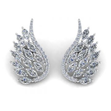 Solid 18Kt Gold SI Clarity HI Color Diamond Angel Wings Stud Earrings Fine Jewelry