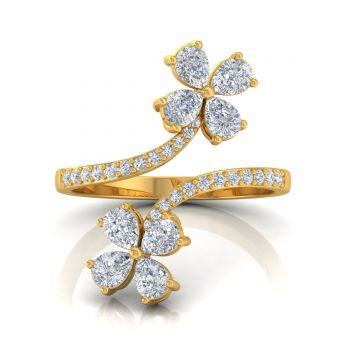 1.15 TCW Solid 18 Kt Gold SI Clarity HI Color Diamond Promise Designer Engagement Ring