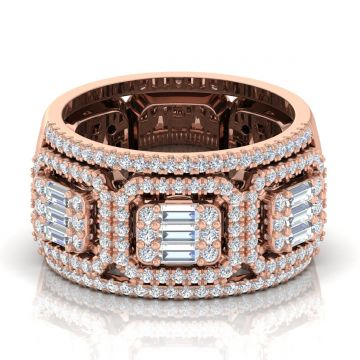18 Kt Gold 1.70 TCW Genuine Baguette Diamond Band Ring
