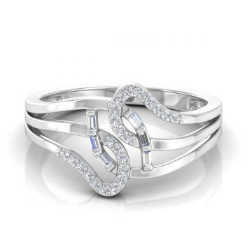Natural 0.25 Ct. Solid 18k Gold SI Clarity HI Color Diamond Designer Band Ring